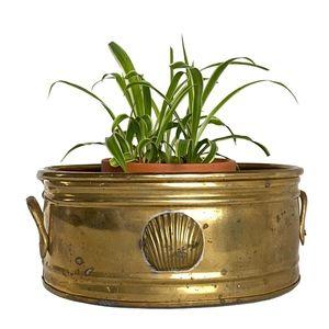 Vintage Coastal Seashell Brass Oval Planter
